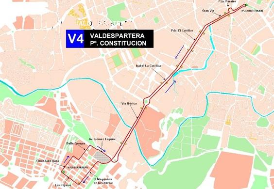 Mapa y paradas de la línea V4 de autobús en la ciudad de Zaragoza