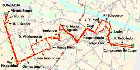 Mapa-plano de la línea 22 de AUZSA