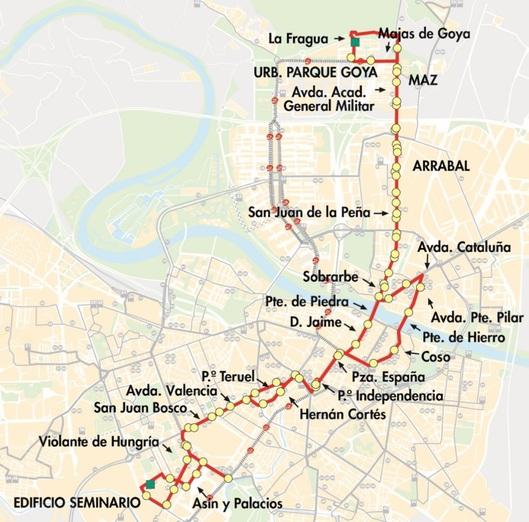 Línea 35 de AUZSA Zaragoza, plano-mapa del recorrido