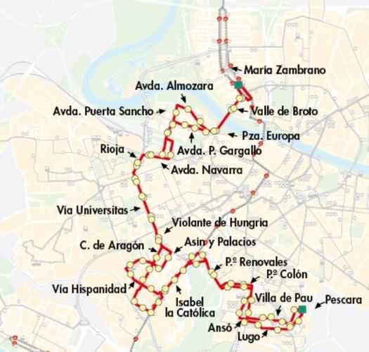 Mapa-recorrido de la línea 42 en Zaragoza