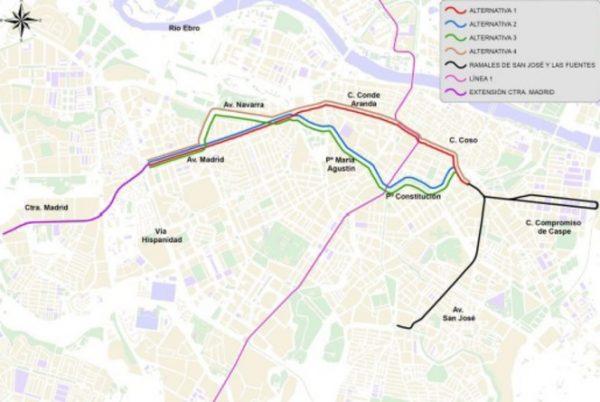 Posibles recorridos de la línea 2 del Tranvía de Zaragoza