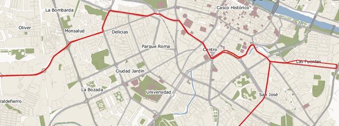 linea 2 de tranvia de zaragoza mapa plano recorrido