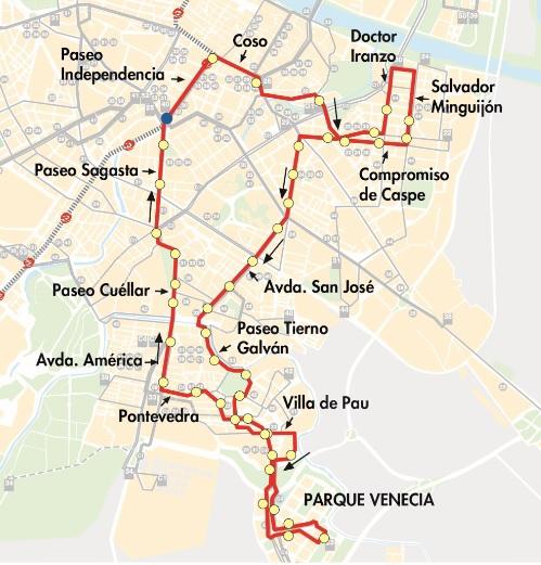 mapa de la linea buho n5 de zaragoza
