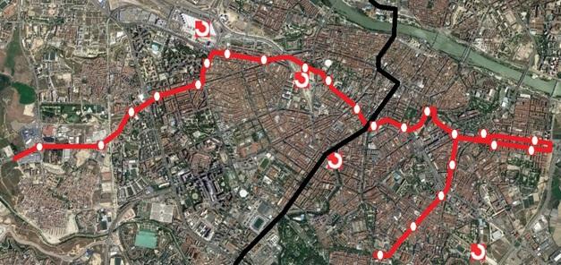paradas mapa plano recorrido linea 2 de tranvia zaragoza